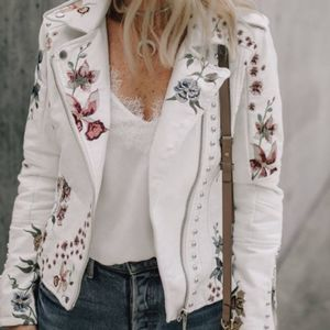NWT Blank NYC White Embroidered Floral Moto Jacket